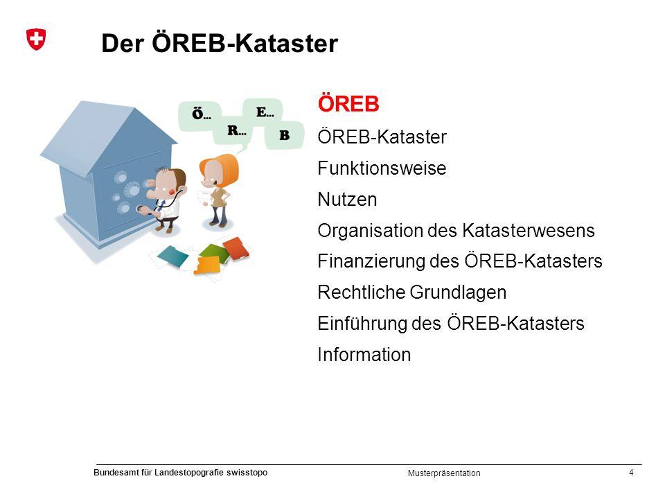 4 Bundesamt für Landestopografie swisstopo Musterpräsentation Der ÖREB-Kataster ÖREB ÖREB-Kataster Funktionsweise Nutzen Organisation des Katasterwese