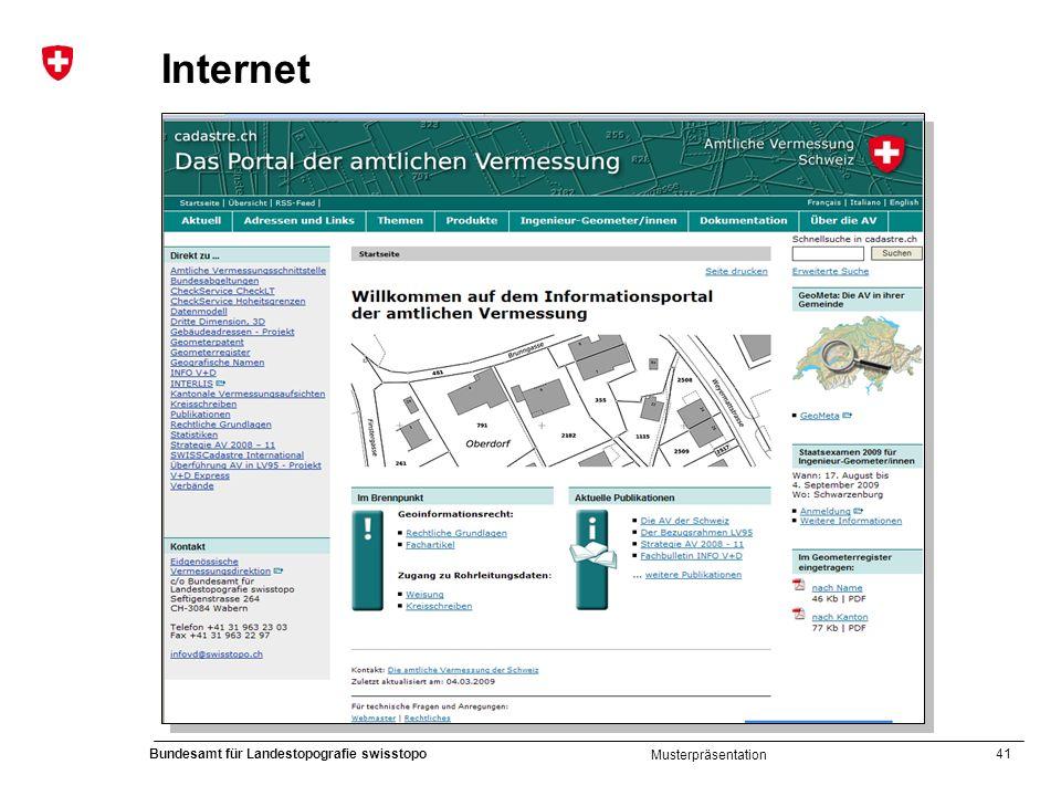 41 Bundesamt für Landestopografie swisstopo Musterpräsentation Internet