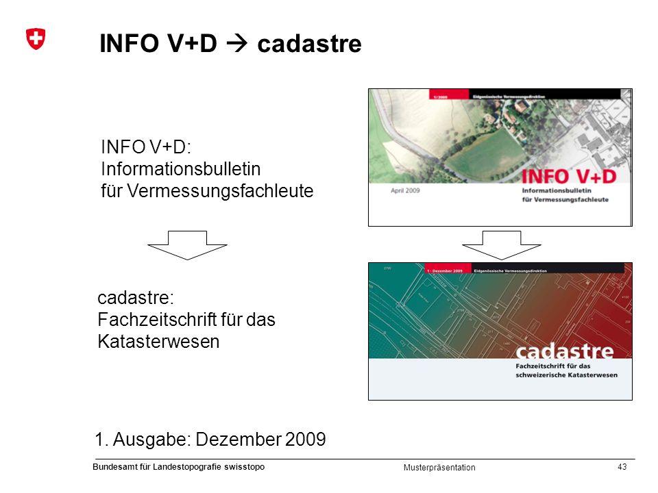 43 Bundesamt für Landestopografie swisstopo Musterpräsentation INFO V+D cadastre INFO V+D: Informationsbulletin für Vermessungsfachleute cadastre: Fac