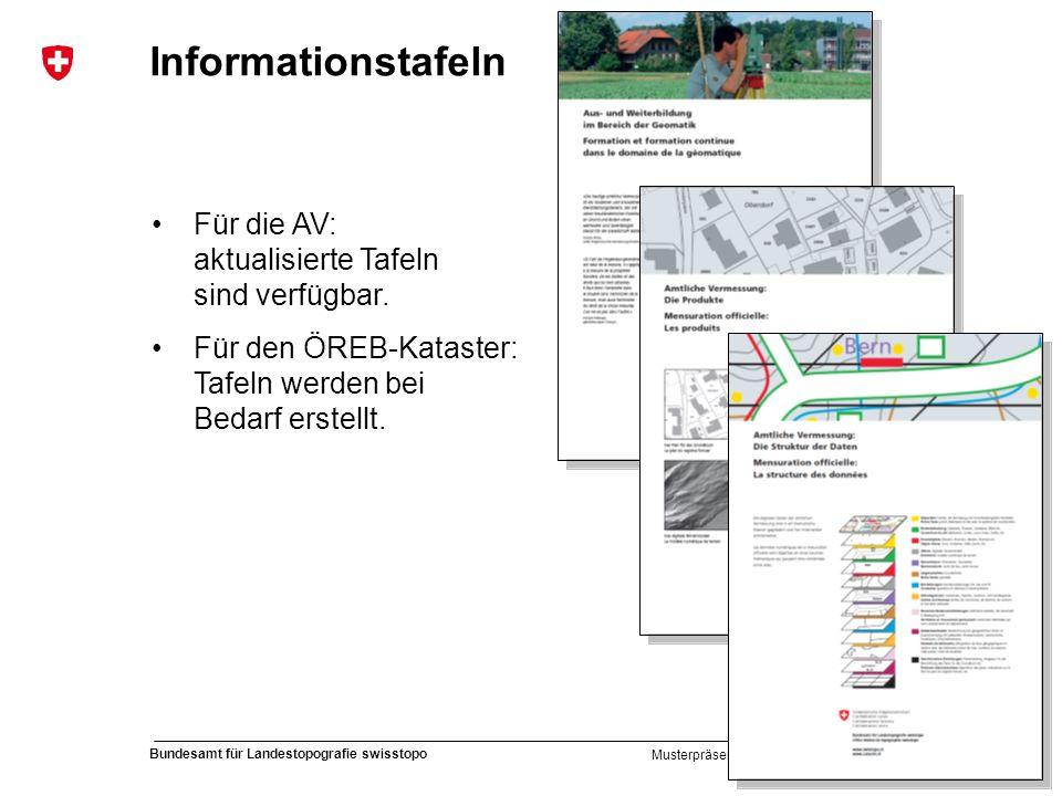 46 Bundesamt für Landestopografie swisstopo Musterpräsentation Informationstafeln Für die AV: aktualisierte Tafeln sind verfügbar. Für den ÖREB-Katast