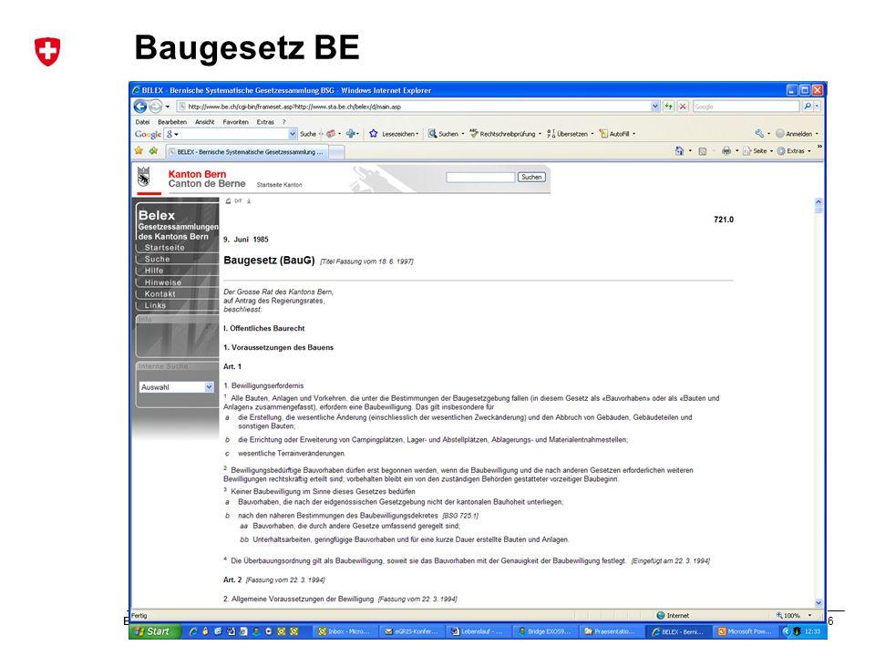 56 Bundesamt für Landestopografie swisstopo Musterpräsentation Baugesetz BE