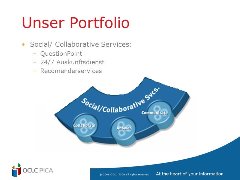 Unser Portfolio Social/ Collaborative Services: –QuestionPoint –24/7 Auskunftsdienst –Recomenderservices