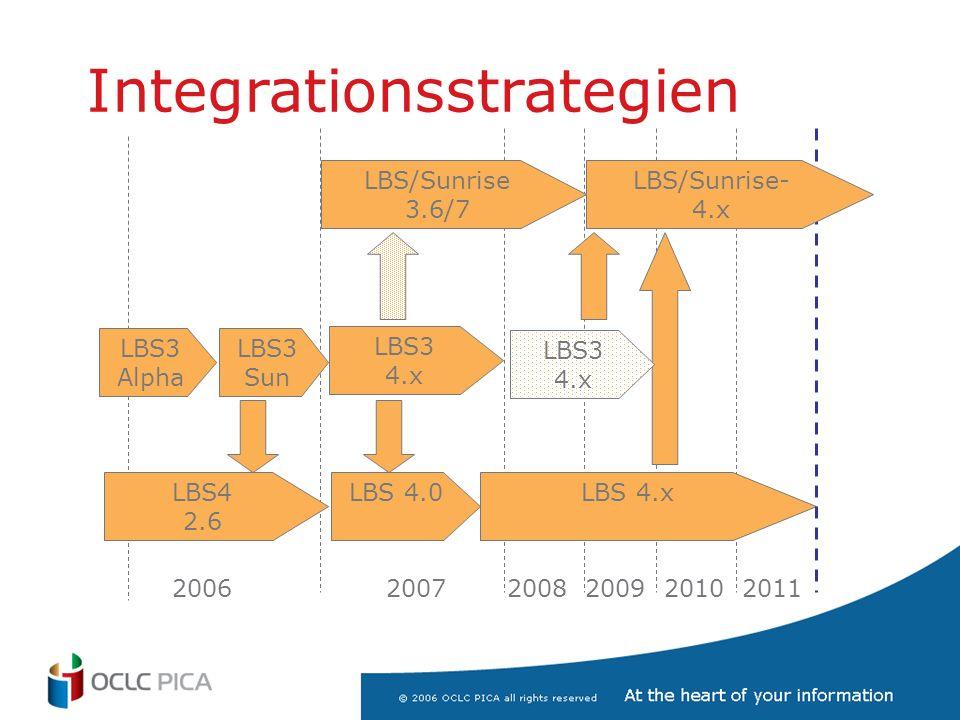 Integrationsstrategien LBS3 Alpha LBS3 Sun LBS4 2.6 LBS 4.0 LBS/Sunrise 3.6/7 LBS3 4.x LBS 4.x 2006 2007 2008 2009 2010 2011 LBS/Sunrise- 4.x LBS3 4.x