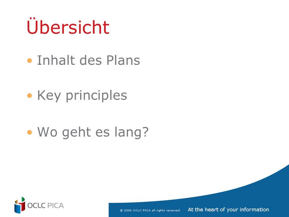 Übersicht Inhalt des Plans Key principles Wo geht es lang