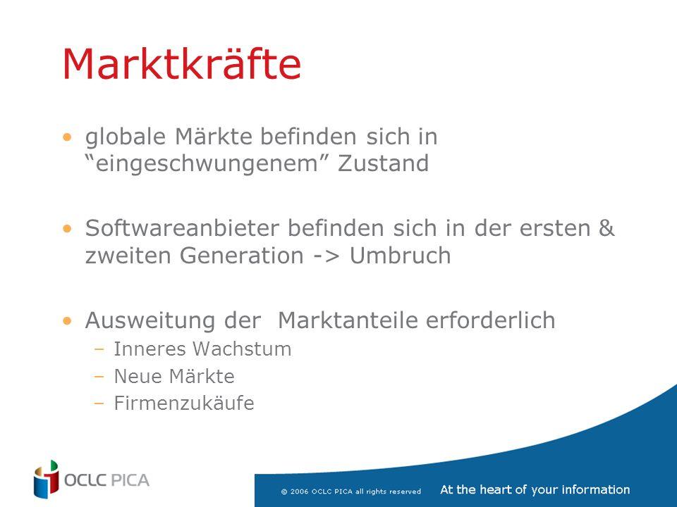 Marktkräfte globale Märkte befinden sich in eingeschwungenem Zustand Softwareanbieter befinden sich in der ersten & zweiten Generation -> Umbruch Ausweitung der Marktanteile erforderlich –Inneres Wachstum –Neue Märkte –Firmenzukäufe