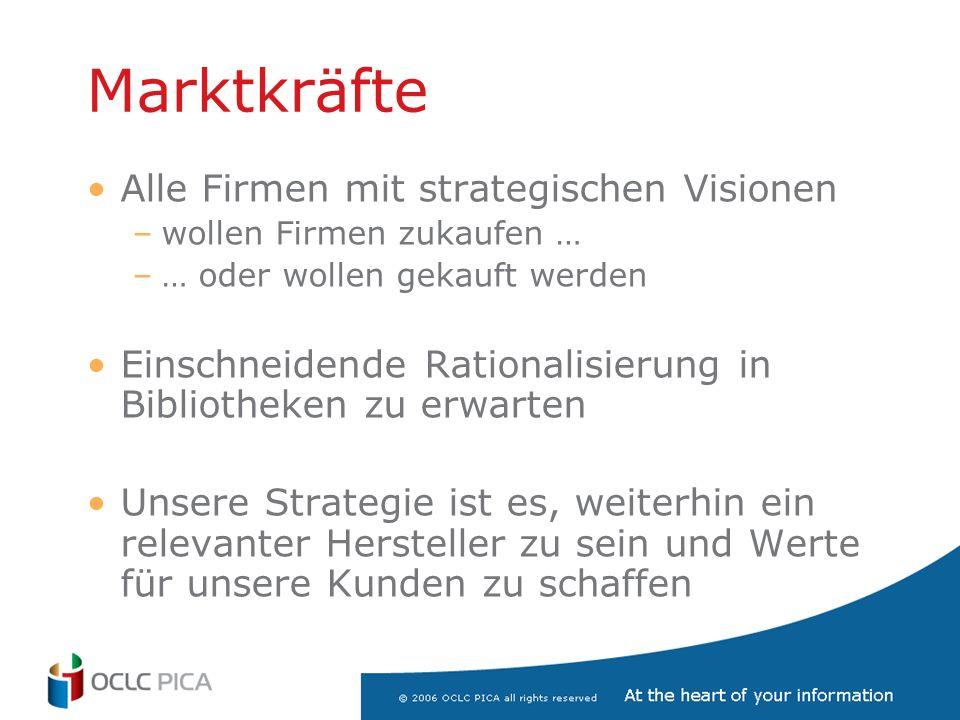 Marktkräfte Alle Firmen mit strategischen Visionen –wollen Firmen zukaufen … –… oder wollen gekauft werden Einschneidende Rationalisierung in Bibliotheken zu erwarten Unsere Strategie ist es, weiterhin ein relevanter Hersteller zu sein und Werte für unsere Kunden zu schaffen