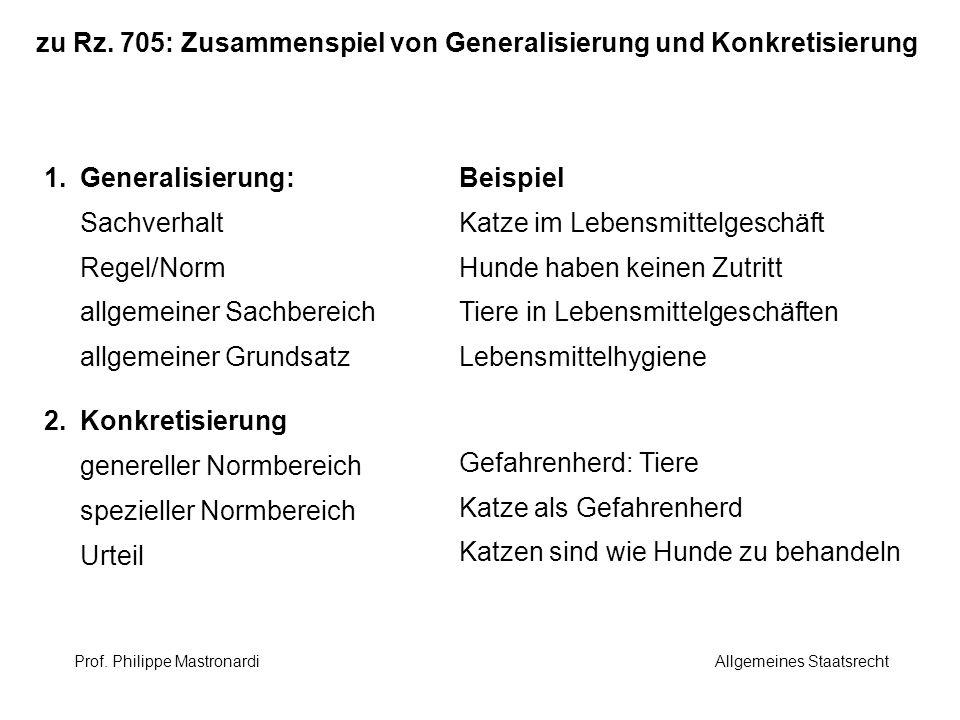 zu Rz. 705: Zusammenspiel von Generalisierung und Konkretisierung 1.Generalisierung: Sachverhalt Regel/Norm allgemeiner Sachbereich allgemeiner Grunds