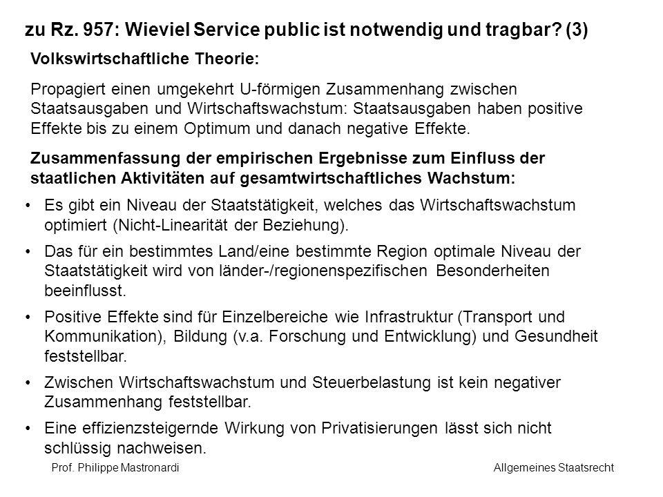 zu Rz. 957: Wieviel Service public ist notwendig und tragbar? (3) Volkswirtschaftliche Theorie: Propagiert einen umgekehrt U-förmigen Zusammenhang zwi