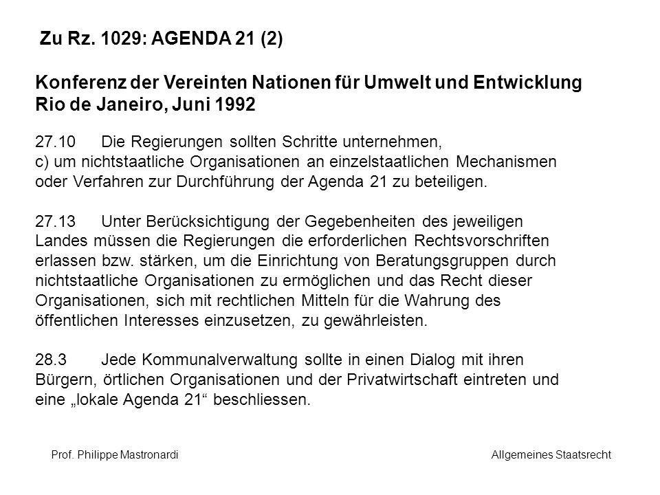 Zu Rz. 1029: AGENDA 21 (2) Konferenz der Vereinten Nationen für Umwelt und Entwicklung Rio de Janeiro, Juni 1992 27.10Die Regierungen sollten Schritte