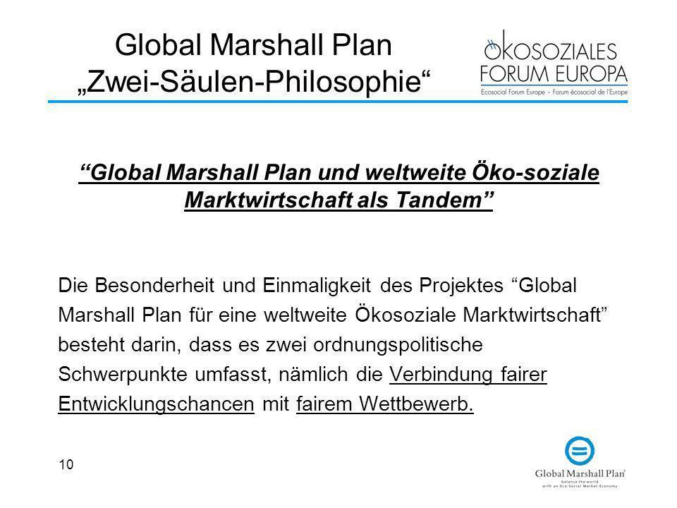 10 Global Marshall Plan Zwei-Säulen-Philosophie Global Marshall Plan und weltweite Öko-soziale Marktwirtschaft als Tandem Die Besonderheit und Einmali