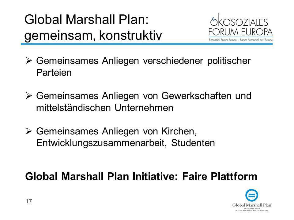 17 Global Marshall Plan: gemeinsam, konstruktiv Gemeinsames Anliegen verschiedener politischer Parteien Gemeinsames Anliegen von Gewerkschaften und mi