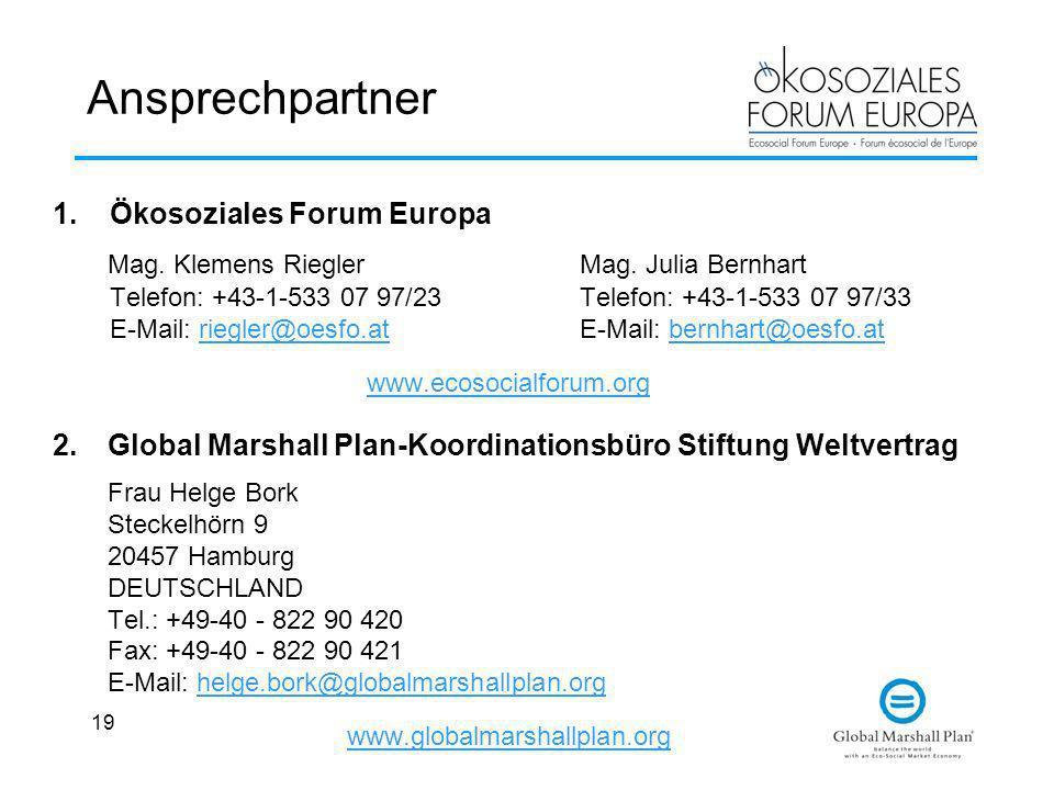 19 Ansprechpartner 1.Ökosoziales Forum Europa Mag. Klemens RieglerMag. Julia Bernhart Telefon: +43-1-533 07 97/23Telefon: +43-1-533 07 97/33 E-Mail: r