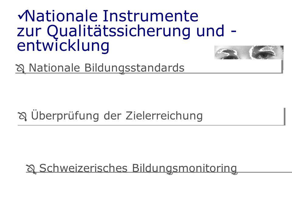 Nationale Bildungsstandards Schweizerisches Bildungsmonitoring Überprüfung der Zielerreichung Nationale Instrumente zur Qualitätssicherung und - entwicklung
