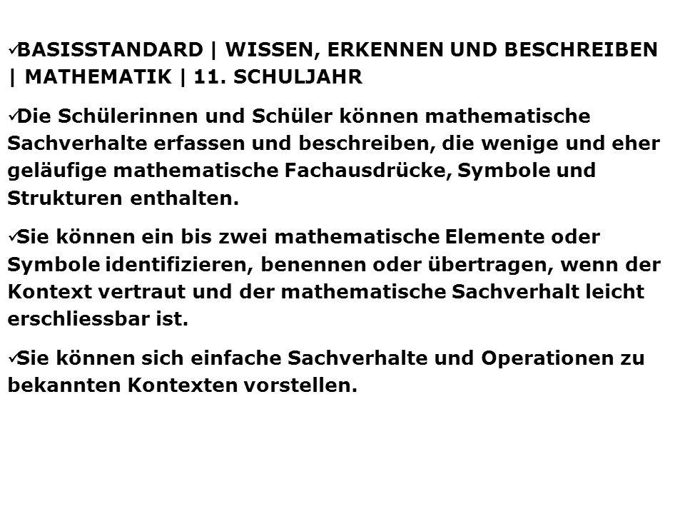 BASISSTANDARD | WISSEN, ERKENNEN UND BESCHREIBEN | MATHEMATIK | 11. SCHULJAHR Die Schülerinnen und Schüler können mathematische Sachverhalte erfassen