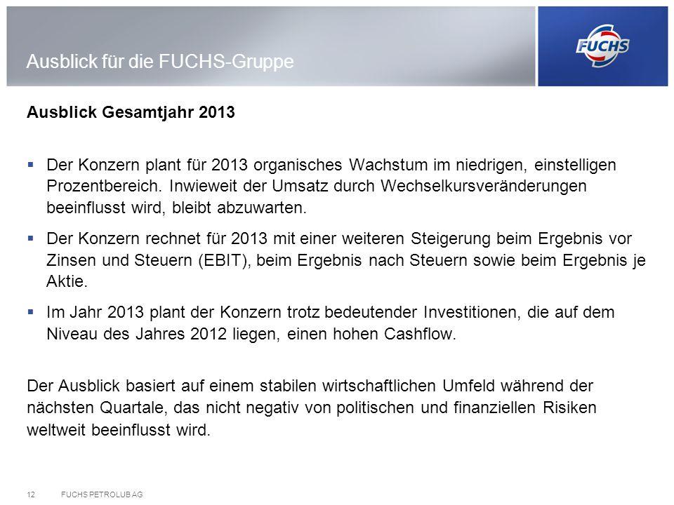 FUCHS PETROLUB AG12 Ausblick für die FUCHS-Gruppe Ausblick Gesamtjahr 2013 Der Konzern plant für 2013 organisches Wachstum im niedrigen, einstelligen