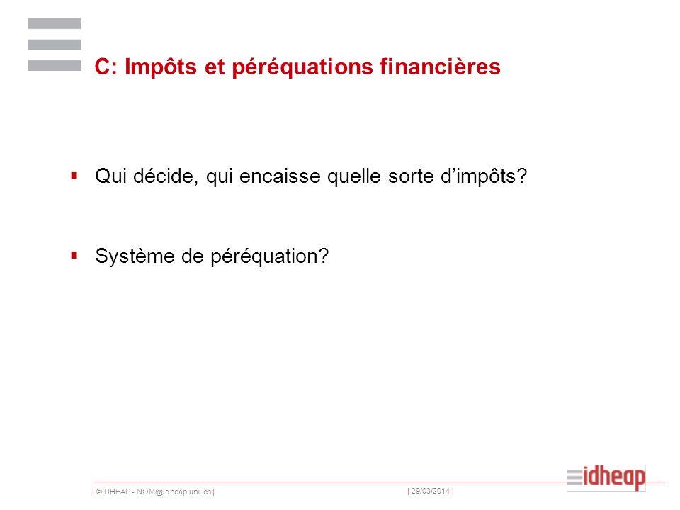 | ©IDHEAP - NOM@idheap.unil.ch | | 29/03/2014 | C: Impôts et péréquations financières Qui décide, qui encaisse quelle sorte dimpôts.