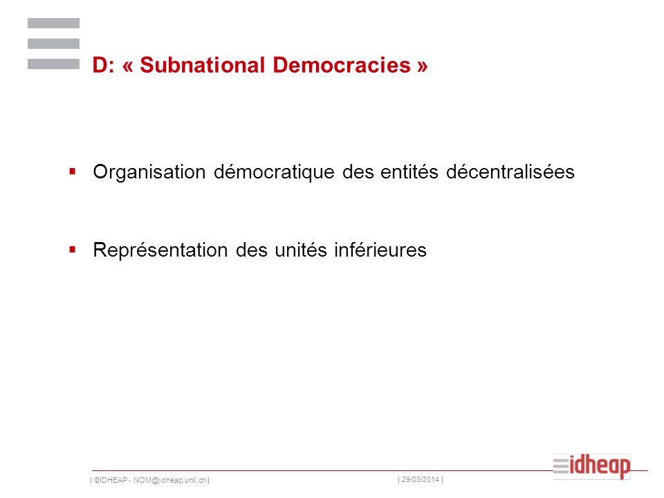 | ©IDHEAP - NOM@idheap.unil.ch | | 29/03/2014 | D: « Subnational Democracies » Organisation démocratique des entités décentralisées Représentation des unités inférieures