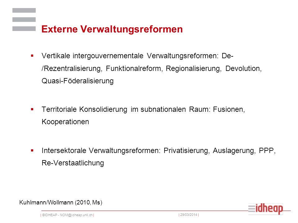 | ©IDHEAP - NOM@idheap.unil.ch | | 29/03/2014 | Externe Verwaltungsreformen Vertikale intergouvernementale Verwaltungsreformen: De- /Rezentralisierung, Funktionalreform, Regionalisierung, Devolution, Quasi-Föderalisierung Territoriale Konsolidierung im subnationalen Raum: Fusionen, Kooperationen Intersektorale Verwaltungsreformen: Privatisierung, Auslagerung, PPP, Re-Verstaatlichung Kuhlmann/Wollmann (2010, Ms)