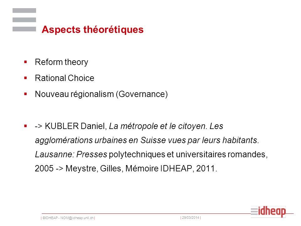 | ©IDHEAP - NOM@idheap.unil.ch | | 29/03/2014 | Aspects théorétiques Reform theory Rational Choice Nouveau régionalism (Governance) -> KUBLER Daniel, La métropole et le citoyen.