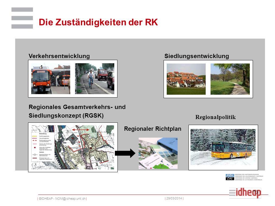 | ©IDHEAP - NOM@idheap.unil.ch | | 29/03/2014 | 73 VerkehrsentwicklungSiedlungsentwicklung Regionales Gesamtverkehrs- und Siedlungskonzept (RGSK) Regionaler Richtplan Regionalpolitik Die Zuständigkeiten der RK