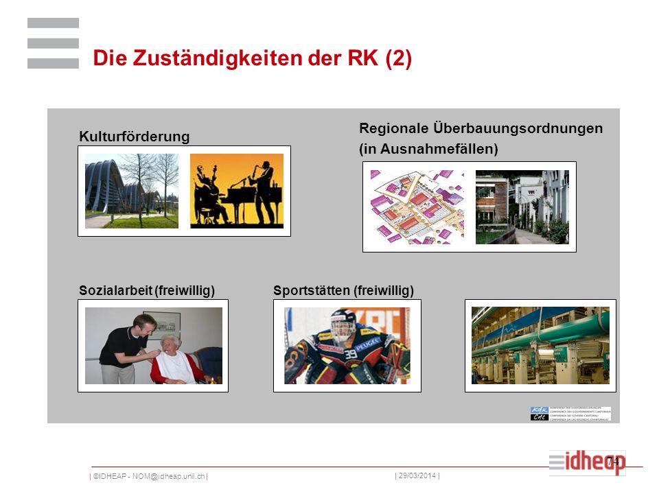 | ©IDHEAP - NOM@idheap.unil.ch | | 29/03/2014 | 74 Wirtschaftsförderung (freiwillig) Kulturförderung Regionale Überbauungsordnungen (in Ausnahmefällen) Sozialarbeit (freiwillig)Sportstätten (freiwillig) Die Zuständigkeiten der RK (2)