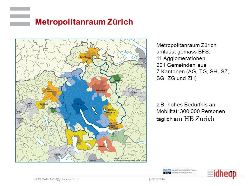 | ©IDHEAP - NOM@idheap.unil.ch | | 29/03/2014 | 77 Metropolitanraum Zürich umfasst gemäss BFS: 11 Agglomerationen 221 Gemeinden aus 7 Kantonen (AG, TG, SH, SZ, SG, ZG und ZH) z.B.