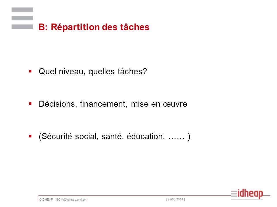 | ©IDHEAP - NOM@idheap.unil.ch | | 29/03/2014 | B: Répartition des tâches Quel niveau, quelles tâches.