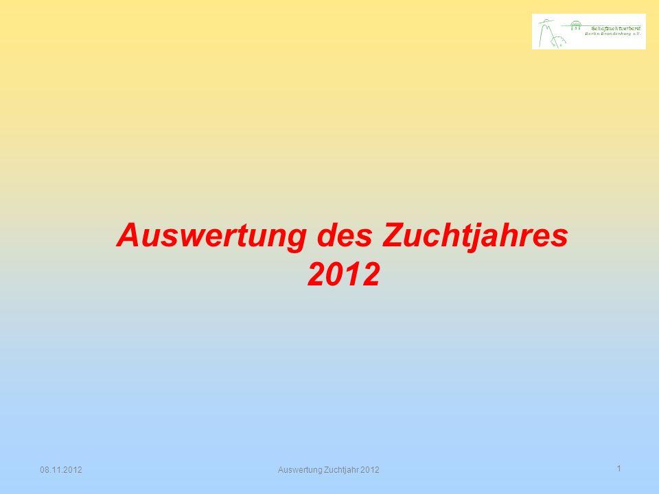 1 08.11.2012Auswertung Zuchtjahr 2012 Auswertung des Zuchtjahres 2012