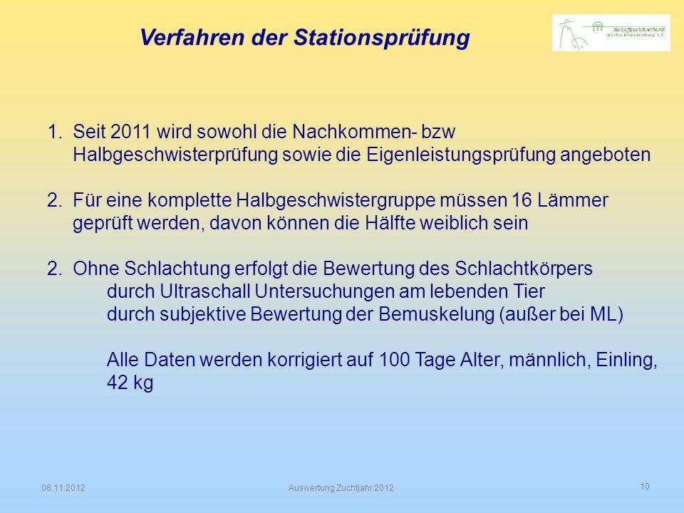 10 08.11.2012Auswertung Zuchtjahr 2012 Verfahren der Stationsprüfung 1.Seit 2011 wird sowohl die Nachkommen- bzw Halbgeschwisterprüfung sowie die Eige