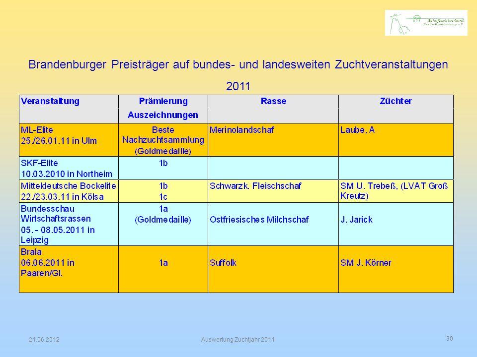 30 21.06.2012Auswertung Zuchtjahr 2011 Brandenburger Preisträger auf bundes- und landesweiten Zuchtveranstaltungen 2011