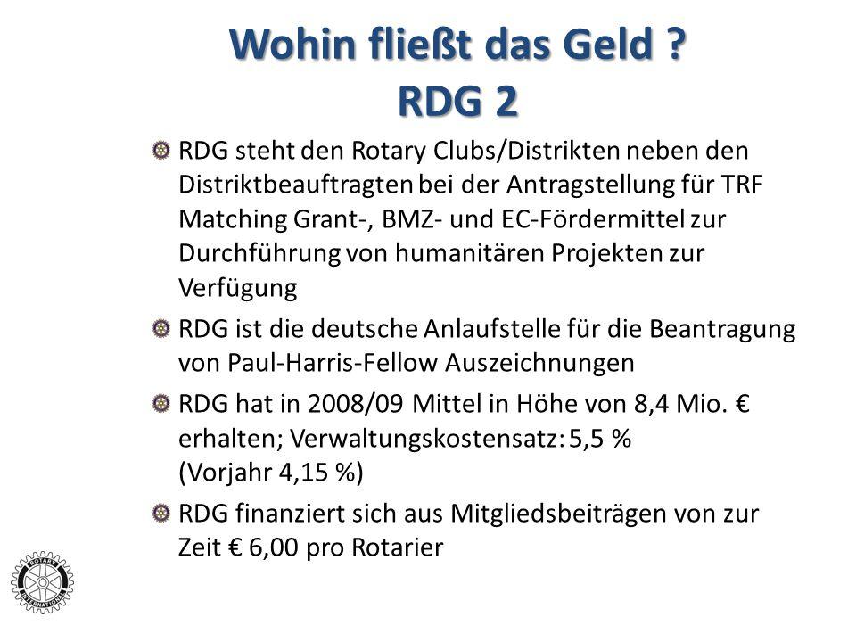 Wohin fließt das Geld ? RDG 2 RDG steht den Rotary Clubs/Distrikten neben den Distriktbeauftragten bei der Antragstellung für TRF Matching Grant-, BMZ