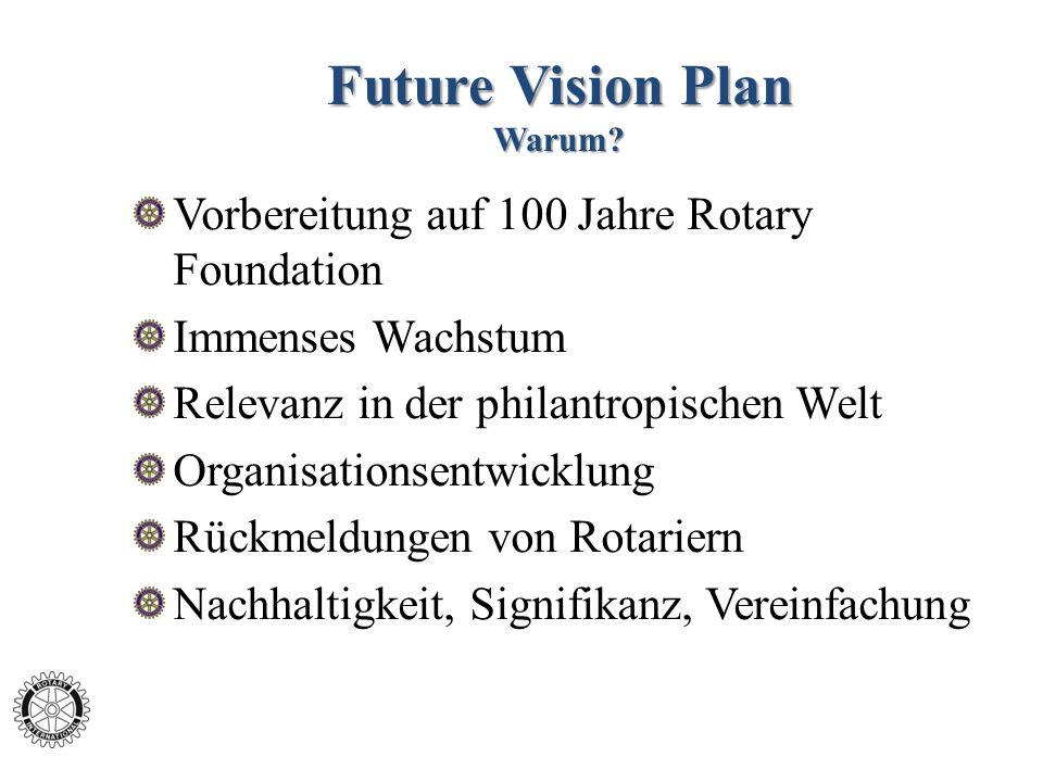 Future Vision Plan Warum? Vorbereitung auf 100 Jahre Rotary Foundation Immenses Wachstum Relevanz in der philantropischen Welt Organisationsentwicklun