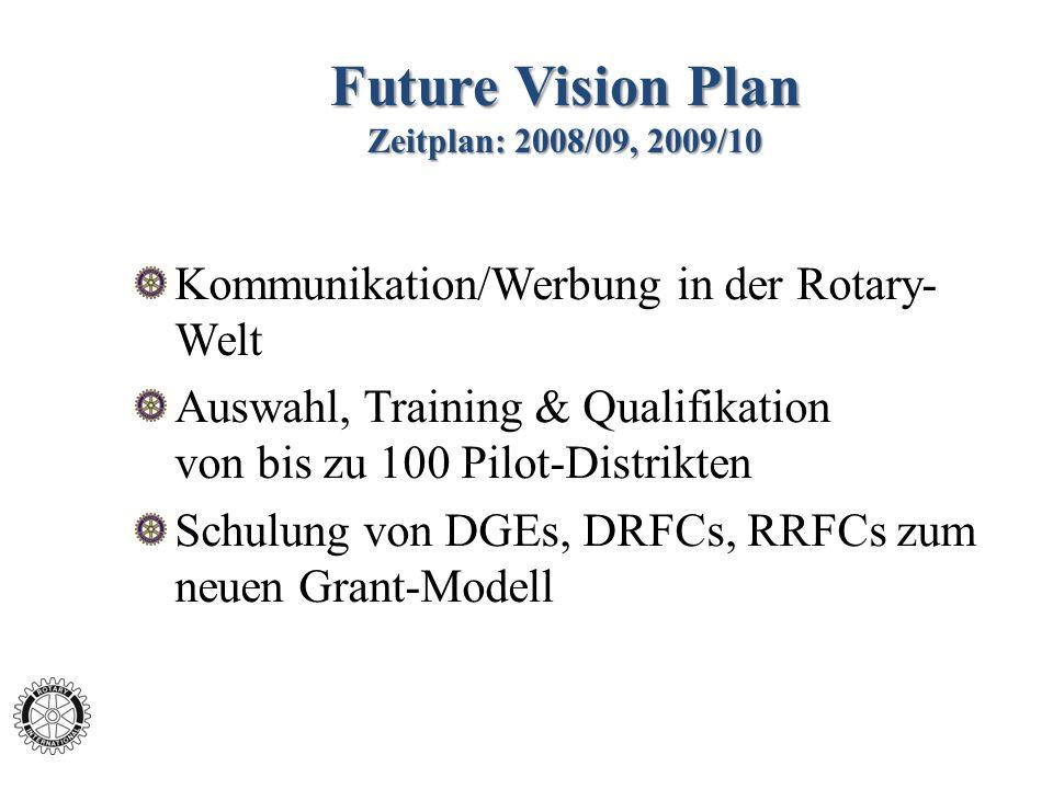 Future Vision Plan Zeitplan: 2008/09, 2009/10 Kommunikation/Werbung in der Rotary- Welt Auswahl, Training & Qualifikation von bis zu 100 Pilot-Distrikten Schulung von DGEs, DRFCs, RRFCs zum neuen Grant-Modell