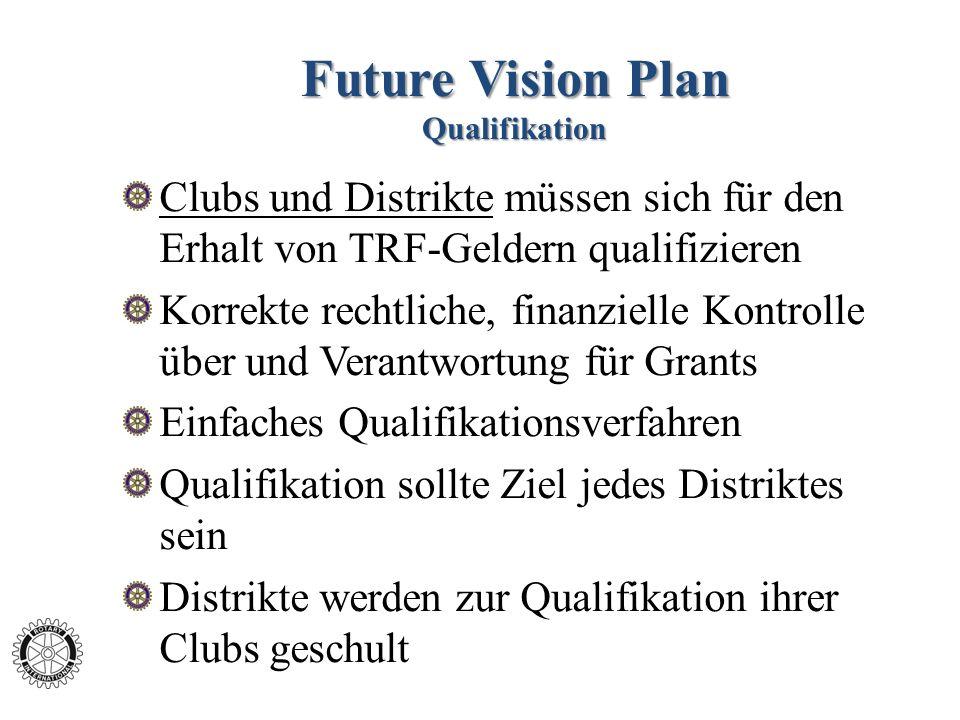 Future Vision Plan Qualifikation Clubs und Distrikte müssen sich für den Erhalt von TRF-Geldern qualifizieren Korrekte rechtliche, finanzielle Kontrolle über und Verantwortung für Grants Einfaches Qualifikationsverfahren Qualifikation sollte Ziel jedes Distriktes sein Distrikte werden zur Qualifikation ihrer Clubs geschult