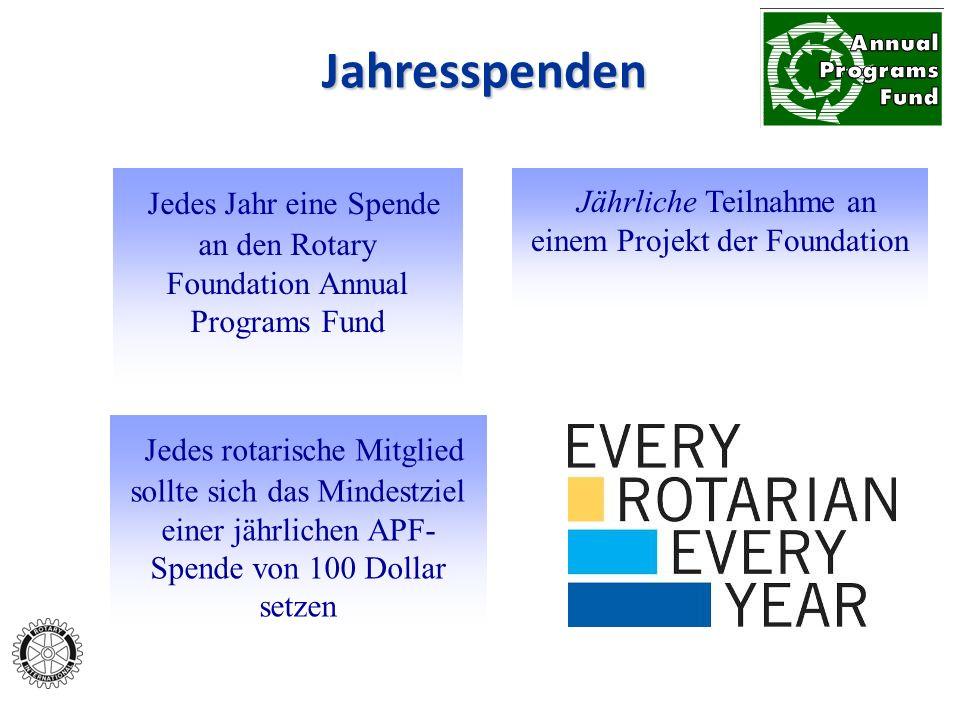 Jährliche Teilnahme an einem Projekt der Foundation Jedes Jahr eine Spende an den Rotary Foundation Annual Programs Fund Jedes rotarische Mitglied sol