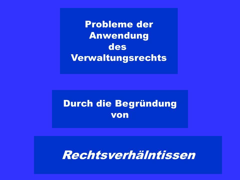 Probleme der Anwendung des Verwaltungsrechts Durch die Begründung von Rechtsverhälntissen