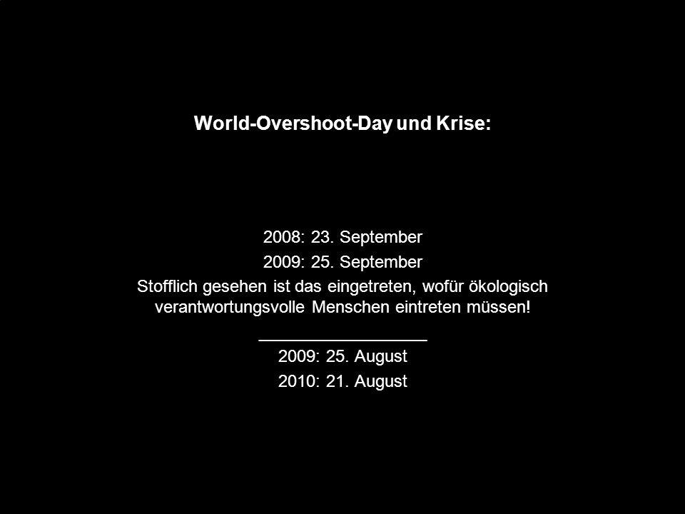 Wohlstand und Arbeit teilen - oder was? World-Overshoot-Day und Krise: 2008: 23. September 2009: 25. September Stofflich gesehen ist das eingetreten,