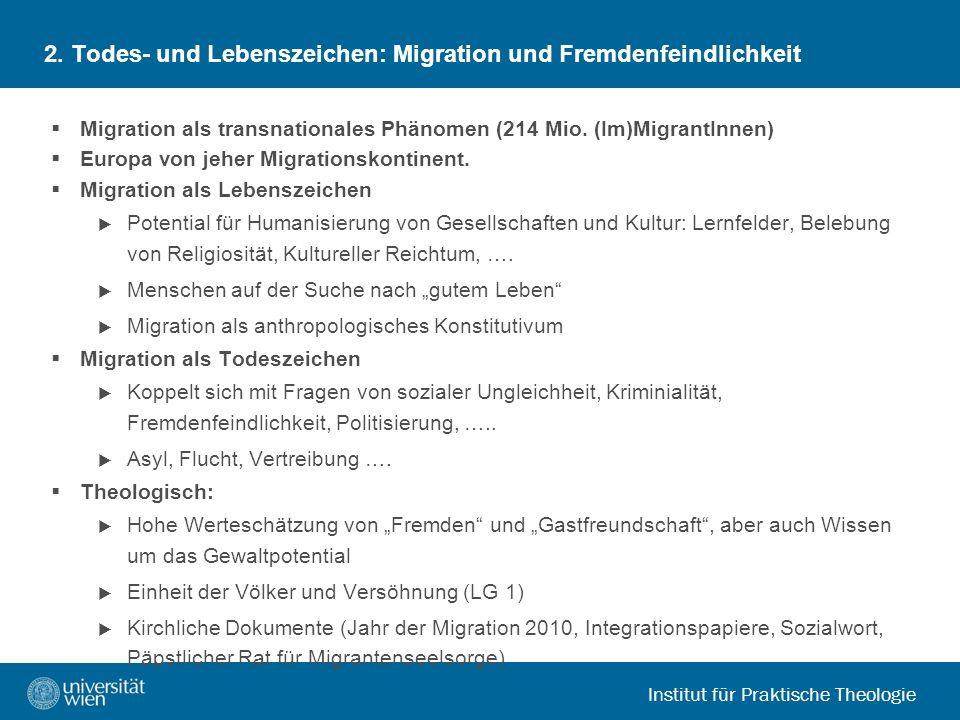 Institut für Praktische Theologie 2. Todes- und Lebenszeichen: Migration und Fremdenfeindlichkeit Migration als transnationales Phänomen (214 Mio. (Im