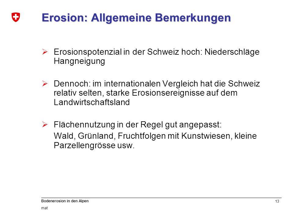 13 Bodenerosion in den Alpen mat Erosion: Allgemeine Bemerkungen Erosionspotenzial in der Schweiz hoch: Niederschläge Hangneigung Dennoch: im internat