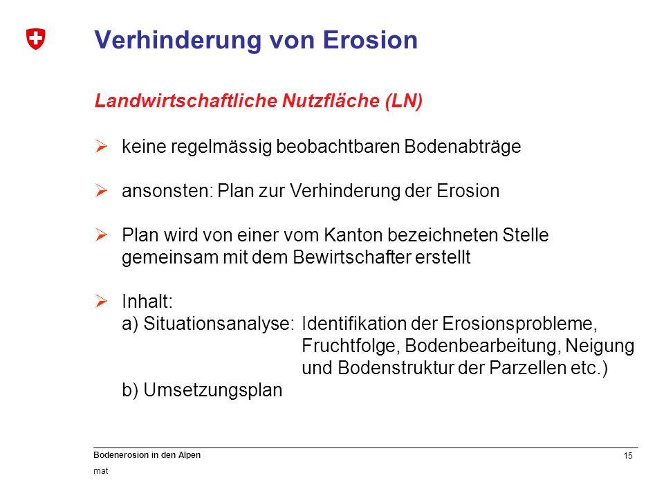 15 Bodenerosion in den Alpen mat Verhinderung von Erosion Landwirtschaftliche Nutzfläche (LN) keine regelmässig beobachtbaren Bodenabträge ansonsten: