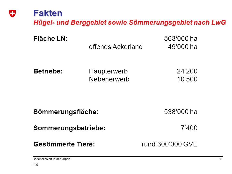 3 Bodenerosion in den Alpen mat Fakten Hügel- und Berggebiet sowie Sömmerungsgebiet nach LwG Fläche LN:563000 ha offenes Ackerland49000 ha Betriebe:Ha