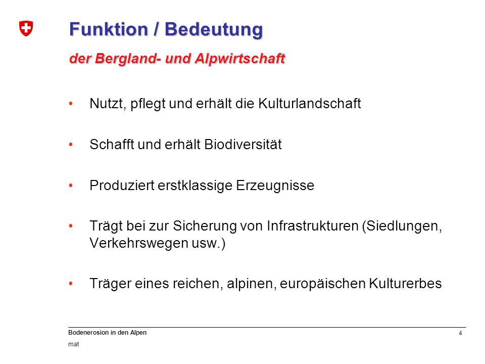 4 Bodenerosion in den Alpen mat Funktion / Bedeutung der Bergland- und Alpwirtschaft Nutzt, pflegt und erhält die Kulturlandschaft Schafft und erhält