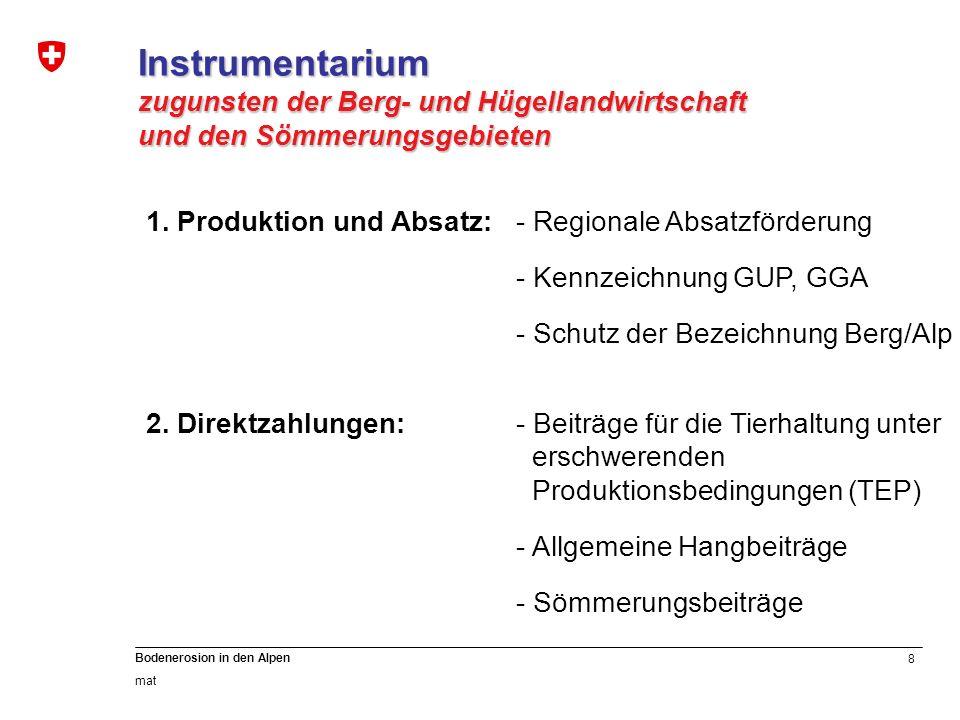 8 Bodenerosion in den Alpen mat Instrumentarium zugunsten der Berg- und Hügellandwirtschaft und den Sömmerungsgebieten 1. Produktion und Absatz: - Reg
