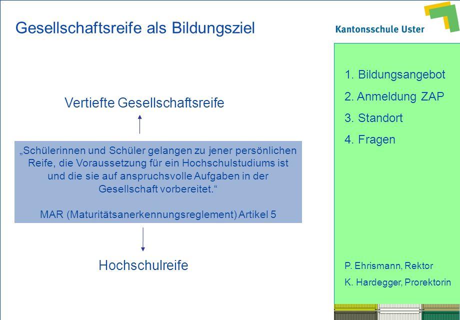 1. Bildungsangebot 2. Anmeldung ZAP 3. Standort 4. Fragen P. Ehrismann, Rektor K. Hardegger, Prorektorin Vertiefte Gesellschaftsreife Hochschulreife S