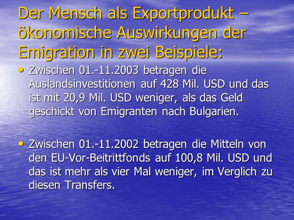 Der Mensch als Exportprodukt – ökonomische Auswirkungen der Emigration in zwei Beispiele: Zwischen 01.-11.2003 betragen die Auslandsinvestitionen auf 428 Mil.