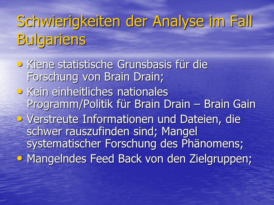 Schwierigkeiten der Analyse im Fall Bulgariens Kiene statistische Grunsbasis für die Forschung von Brain Drain; Kiene statistische Grunsbasis für die