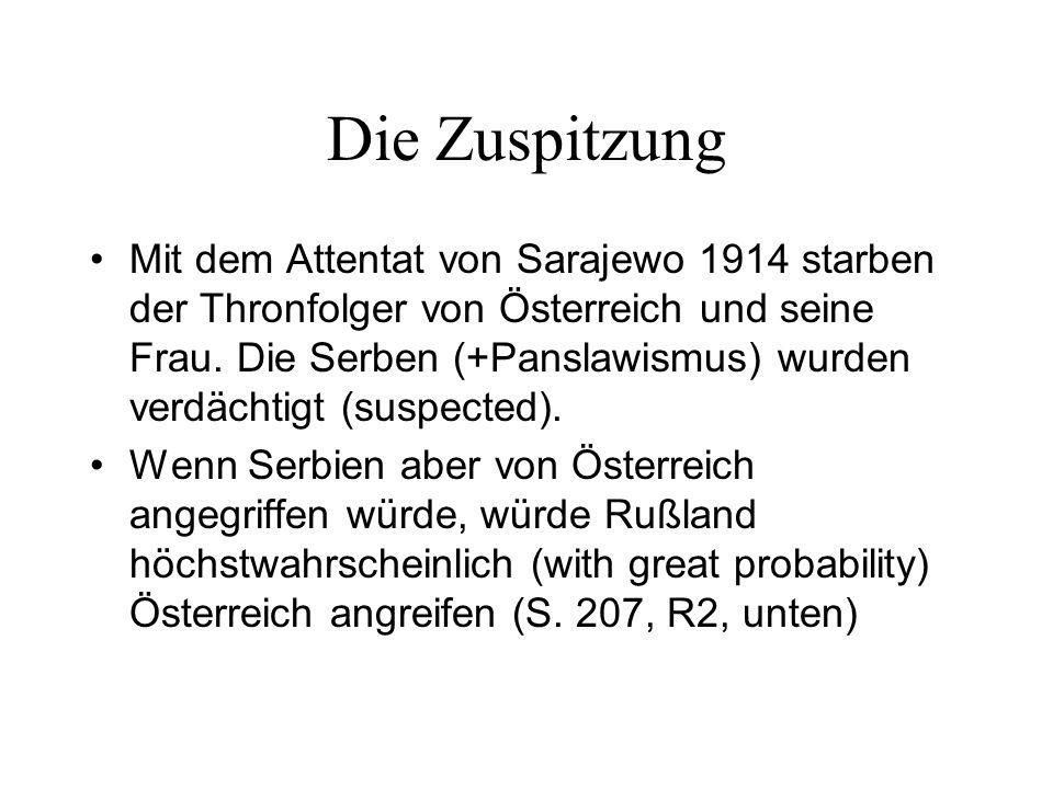 Die Zuspitzung Mit dem Attentat von Sarajewo 1914 starben der Thronfolger von Österreich und seine Frau.