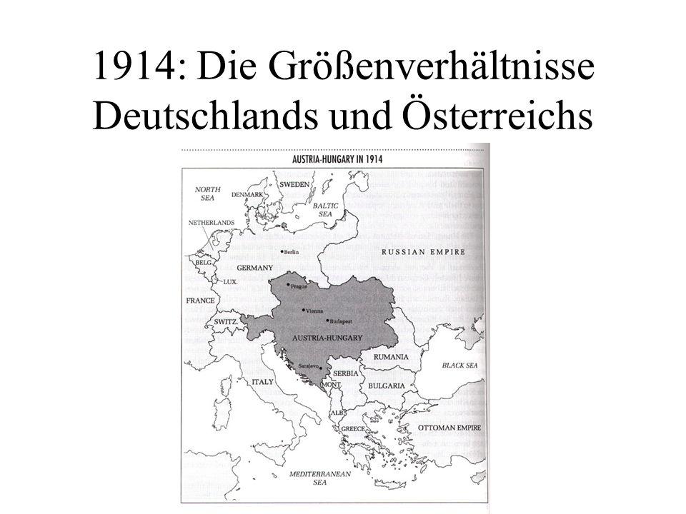 1914: Die Größenverhältnisse Deutschlands und Österreichs