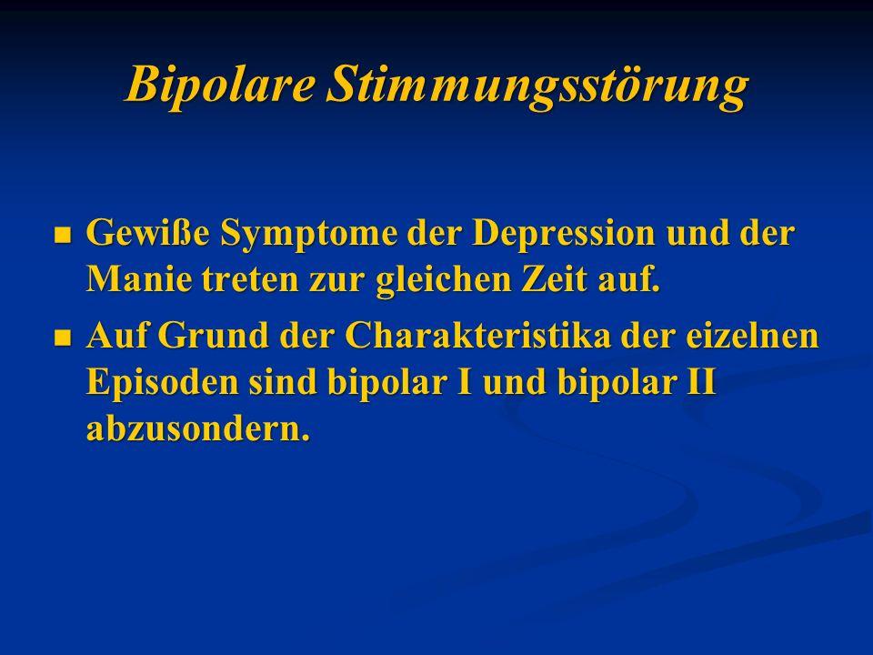 Gewiße Symptome der Depression und der Manie treten zur gleichen Zeit auf. Gewiße Symptome der Depression und der Manie treten zur gleichen Zeit auf.