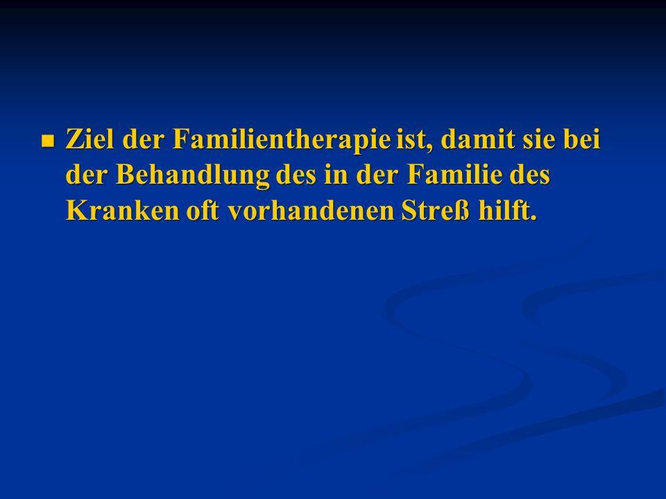 Ziel der Familientherapie ist, damit sie bei der Behandlung des in der Familie des Kranken oft vorhandenen Streß hilft. Ziel der Familientherapie ist,